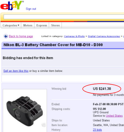 Actual eBay auction for a Nikon BL-3